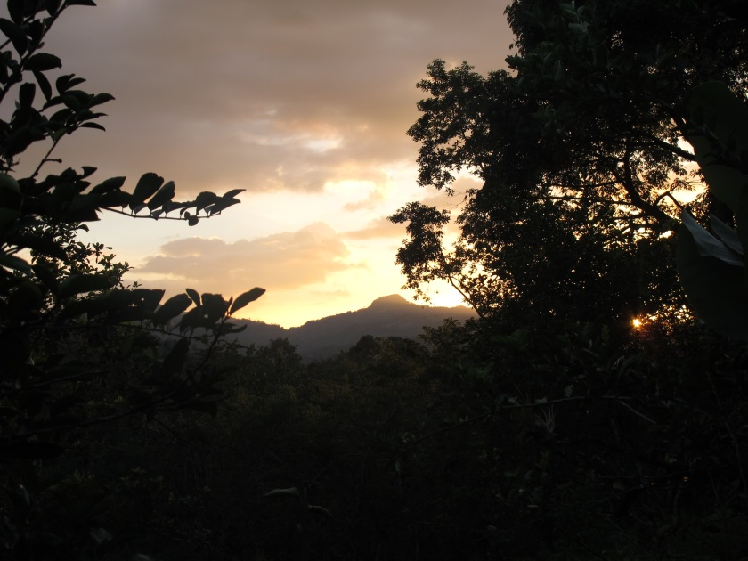 Sun set in Nicaragua mountains