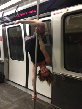 Doing some pole tricks after the trip